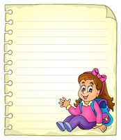 Notebook page with schoolgirl - picture illustration.