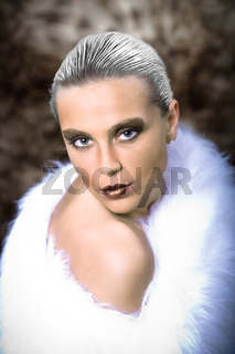 woman in a fur