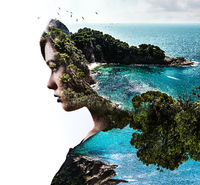 Double exposure. Portrait of a woman combined with a rocky coast and sea