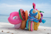 Bunch of colorful inflatable toys