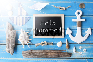Sunny Nautic Chalkboard And Text Hello Summer