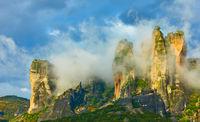 Clouds on rocks in Meteora