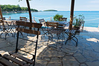 Chairs and tables with beautiful sea view