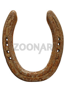 Old rusty lucky horseshoe isolated on a white background.