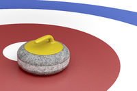 Curling stone in the target area