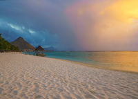 wondeful beach at sunset in Mauritius