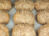Closeup of freshly made sunflower seed buns