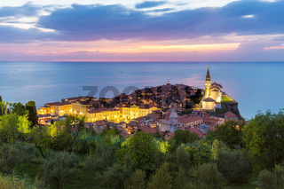 Romantic colorful sunset over picturesque old town Piran, Slovenia.