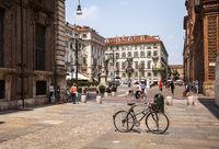 Piazza Carignano square in Italy.