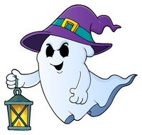 Ghost with hat and lantern theme 1