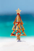 Christmas in the summer - Driftwood Christmas tree on beach