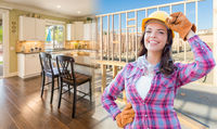 Female Construction Worker In Front of House Framing Gradating to Finished Kitchen Photo