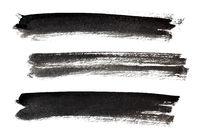 Set of long ink black brush strokes