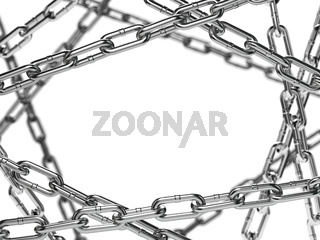 Chain stainless steel isolated on white background Space for text.