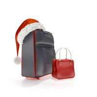 traveling luggage with a red christmas hat