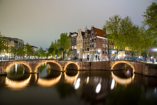 One of the famous canal of Amsterdam, the Netherlands at dusk