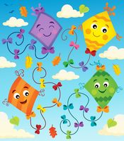 Happy flying kites thematic image 1