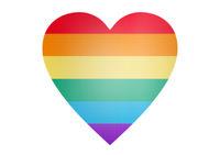 rainbow heart shape over white background