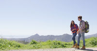 Laughing couple in mountains