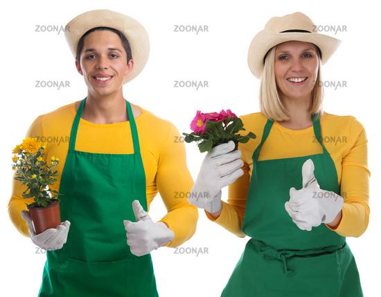 Gärtner Team Gärtnerin Garten Gartenarbeit Beruf Blume Daumen hoch Freisteller