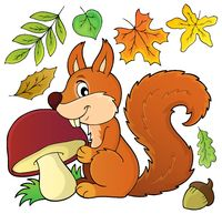 Squirrel with mushroom theme image 1 - picture illustration.