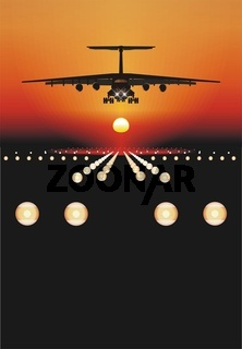Flugzeuge auf Sonnenuntergang