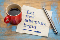 Let new adventure begin napkin concept