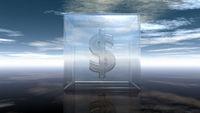 glaswürfel mit dollarzeichen unter wolkenhimmel - 3d illustration