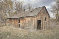 old farm building in late fall scenery