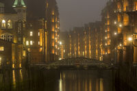 Historic Speicherstadt warehouse district at night, Hafencity, Hamburg, Germany, Europe