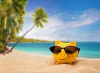 Happy piggyback on a tropical sand beach