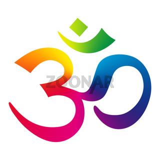 Rainbow Om Sign - Aum Symbol