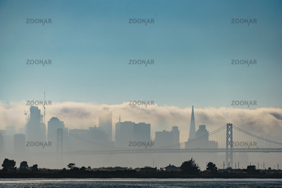 Fog Shrouding the San Francisco Skyline.