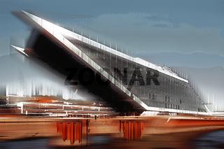 Modernes Geschäftshaus in Hamburg, Deutschland, grafisch abstrakt (digital manipuliert)