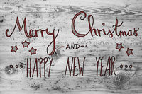 Red Calligraphy Merry Christmas And Happy New Year, Wooden Background