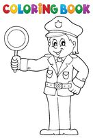 Coloring book policeman holds stop sign