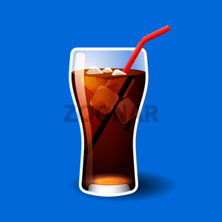 Cola or soda glass with ice cubes isolated on blue