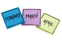 February, March and April on sticky notes