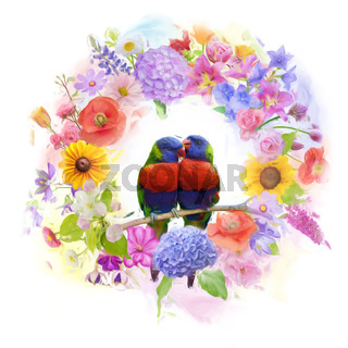 arrangement of colorful flowers and parrots