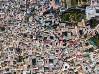 Aerial top view of Medina in Fes, Morocco