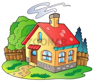 Small family house - color illustration.