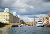 The mouth of the Nyhavn canal in Copenhagen.