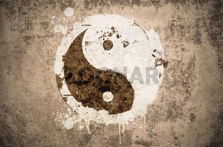 grunge yinyang symbol