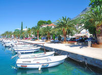 Promenade of Baska Voda at adriatic Sea,Makarska Riviera,Dalmatia,region,Croatia