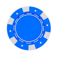 single blue casino chip isolated on white background