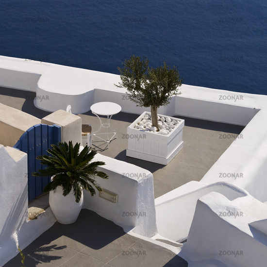 nice terrace over the sea on Santorini