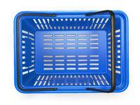 Blue  empty  shopping basket isolated on white background
