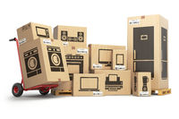 Household kitchen appliances and home electronics in carboard boxes isolated on white. E-commerce, internet online shopping and delivery concept.