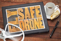 fly safe drone word abstract on digital tablet