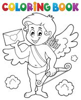 Coloring book Cupid holding envelope